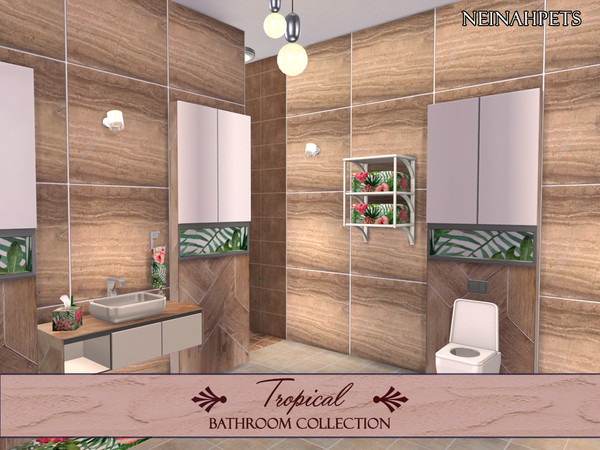 Tropical Flowers Bathroom by neinahpets at TSR image 590 Sims 4 Updates