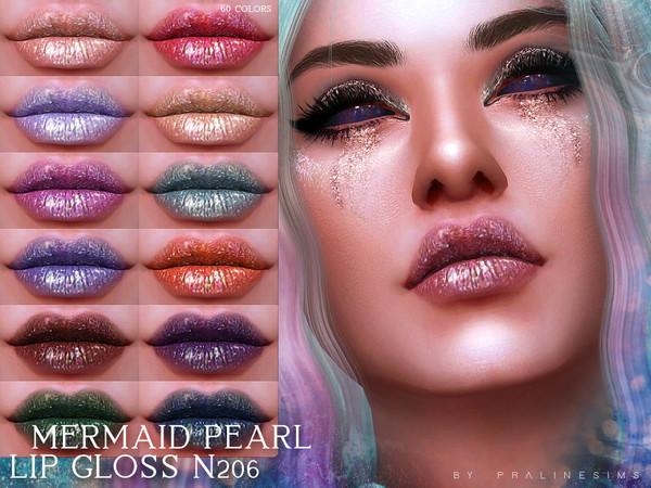Sims 4 Mermaid Pearl Lip Gloss N206 by Pralinesims at TSR