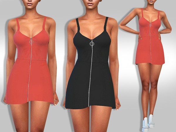 Sims 4 Summer Front Zip Super Mini Dress by Saliwa at TSR