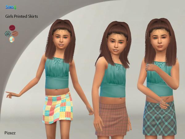 Sims 4 Girls Printed Skirts by pizazz at TSR