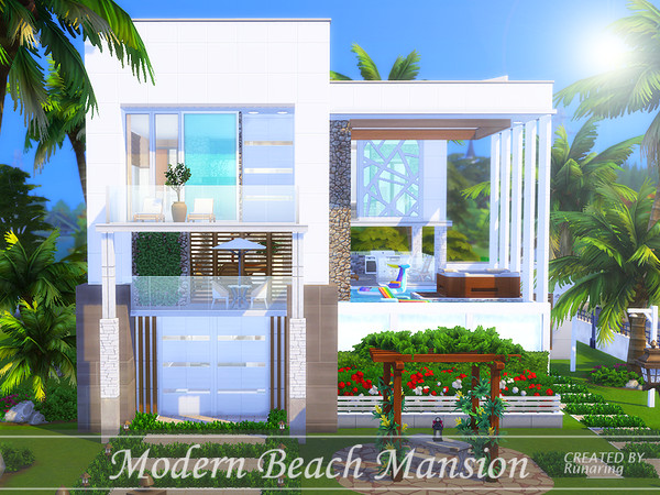 Sims 4 Modern Beach Mansion by Runaring at TSR
