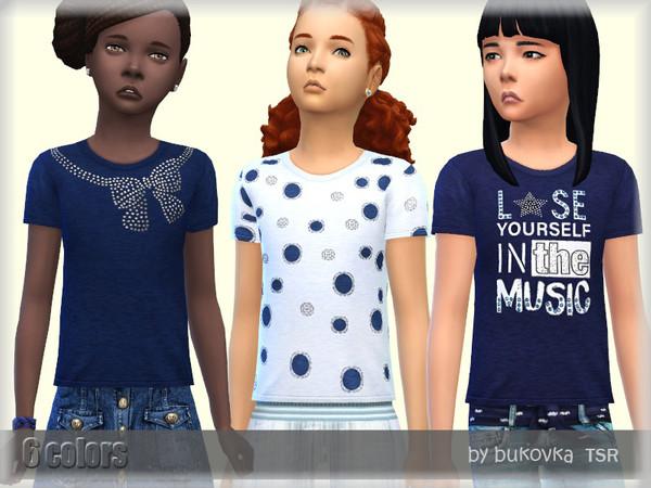 Sims 4 T shirt Blue by bukovka at TSR