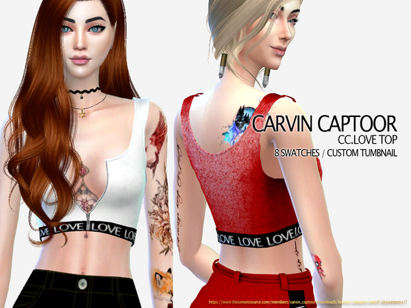 Sims 4 Love top CN by carvin captoor at TSR