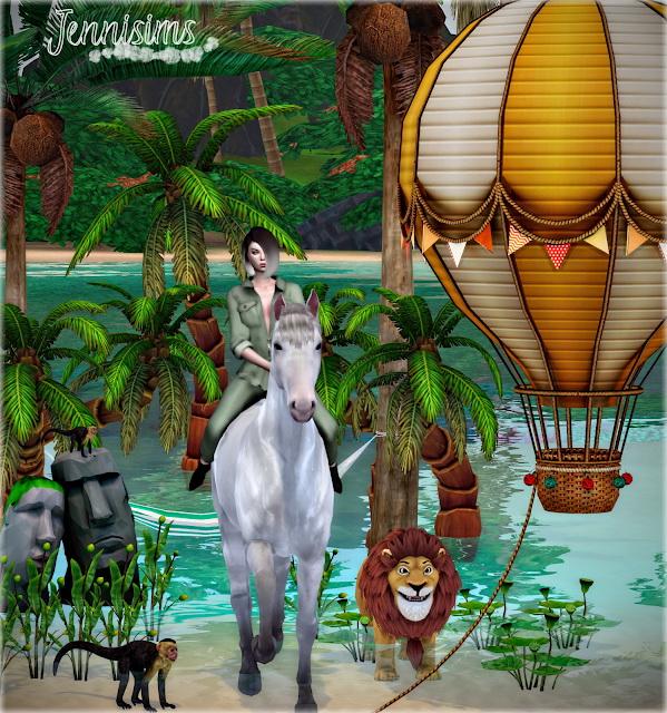 Summer Denim Balloon, PalmTrees, Hammock, Plants, Monkey, Sculpture (9 Items) at Jenni Sims image 7410 Sims 4 Updates