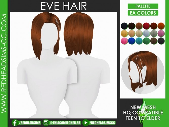 Sims 4 EVE HAIR by Thiago Mitchell at REDHEADSIMS