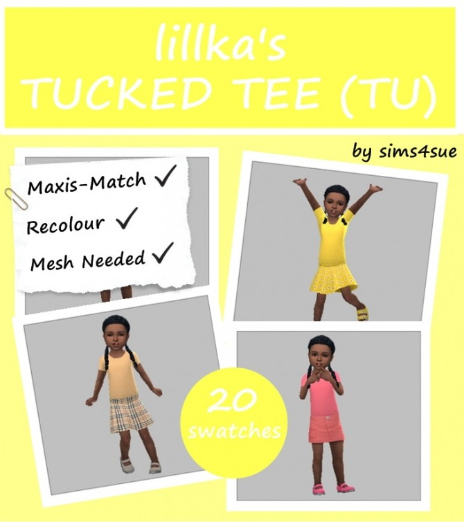 LILLKA'S TUCKED TEE RECOLOUR TU at Sims4Sue image 7715 670x754 Sims 4 Updates