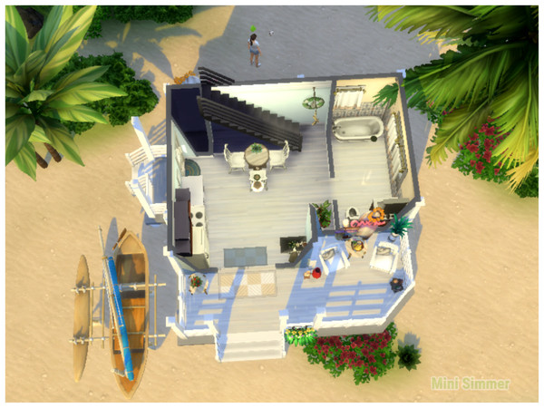 Sims 4 Small Beach house by Mini Simmer at TSR
