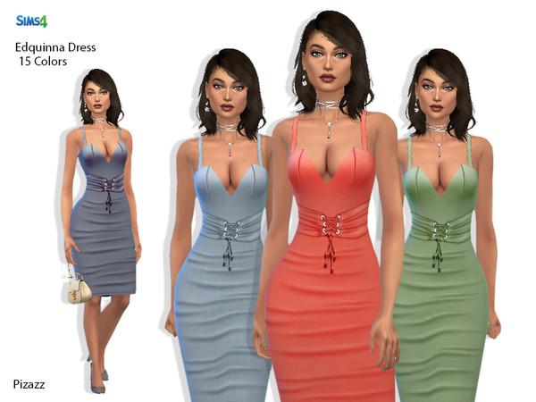 Sims 4 Edquinna Dress by pizazz at TSR