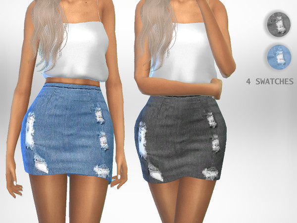 Sims 4 Distressed Skirt by Puresim at TSR