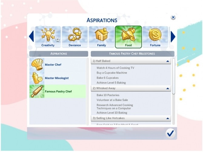 Sims 4 Famous Pastry Chef Aspiration by xbrettface at Mod The Sims