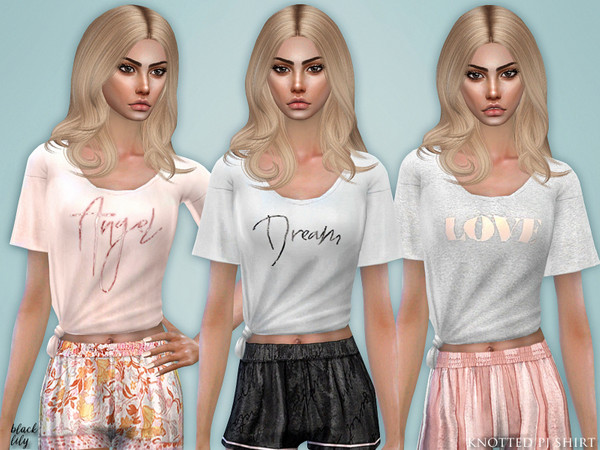 Sims 4 Knotted PJ Shirt by Black Lily at TSR