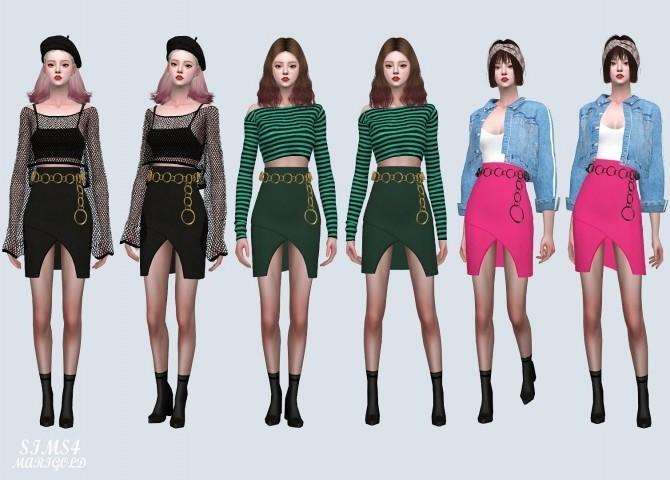 Sims 4 Unbalance Tulip Mini Skirt With Circle Belt (P) at Marigold
