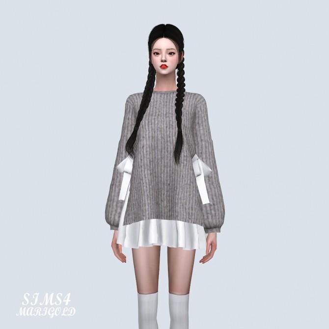 Sims 4 Ribbon Sweater With Flare Mini Dress (P) at Marigold