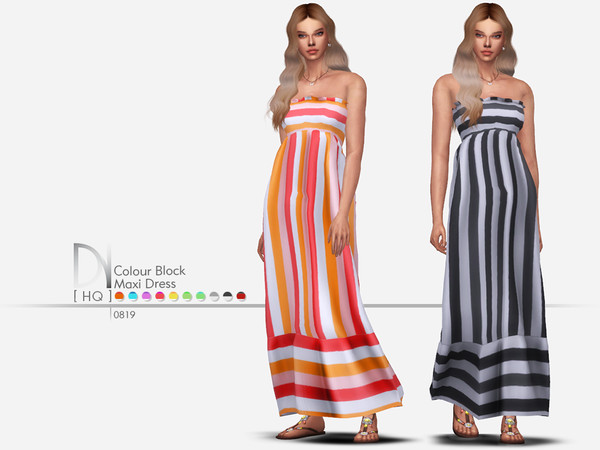 Sims 4 Colour Block Maxi Dress by DarkNighTt at TSR