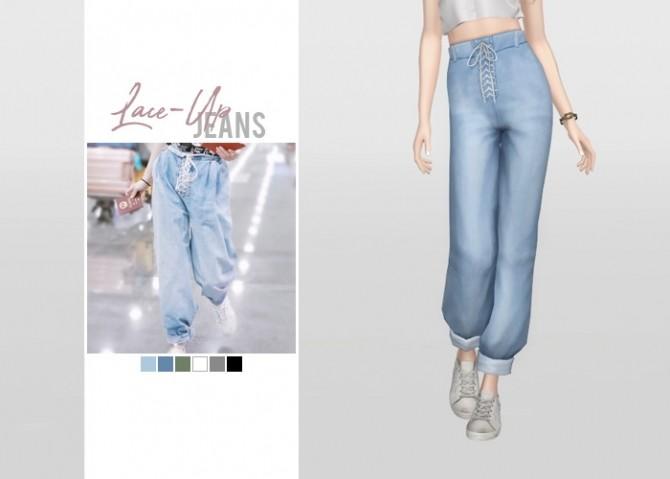 Sims 4 Lace Up Jeans at Waekey