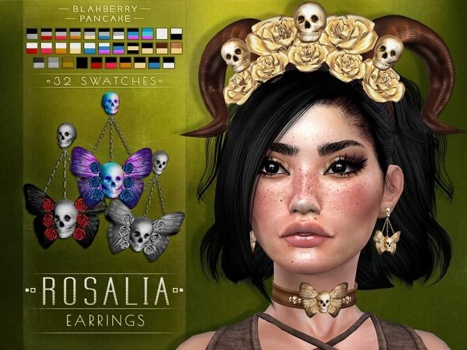 Sims 4 Rosalia set: headdress, choker & earrings at Blahberry Pancake