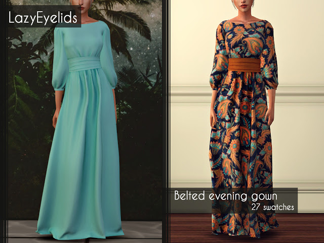 Sims 4 Belted evening gown at LazyEyelids