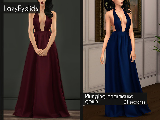 Sims 4 Plunging charmeuse gown at LazyEyelids