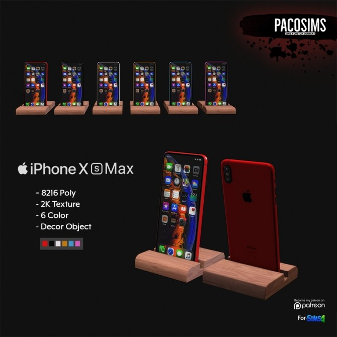 iPhone X s Max decor (P) at Paco Sims image 1100 670x670 Sims 4 Updates