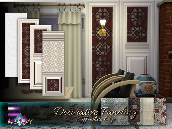Sims 4 Decorative Paneling in offwhite beige by emerald at TSR