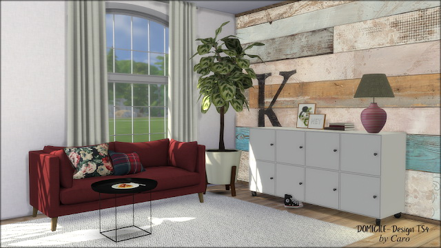 Sweet September sofa, pillows, dresser, plant & lamp at DOMICILE Design TS4 image 1105 Sims 4 Updates