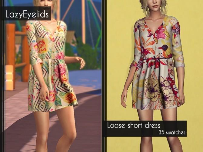 Sims 4 Loose short dress at LazyEyelids