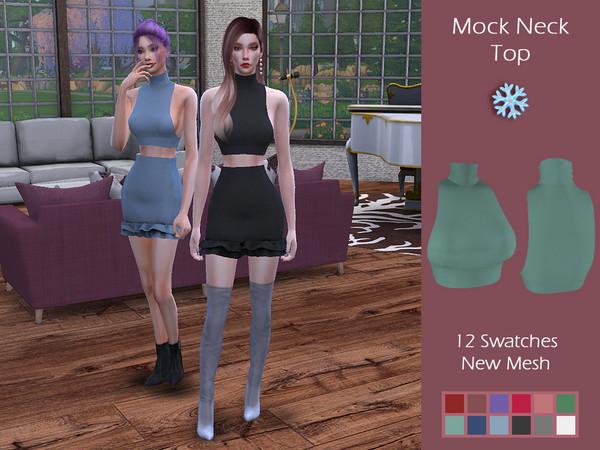 Sims 4 LMCS Mock Neck Top by Lisaminicatsims at TSR