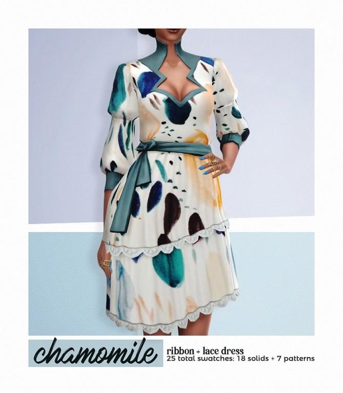 Sims 4 CHAMOMILE ribbon lace dress at Viiavi