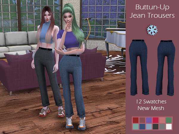 LMCS Buttun Up denim Trousers by Lisaminicatsims at TSR image 1139 Sims 4 Updates