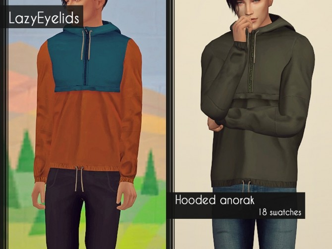 Sims 4 Blazer, ripped knees skinnies, hooded anorak & sweater at LazyEyelids