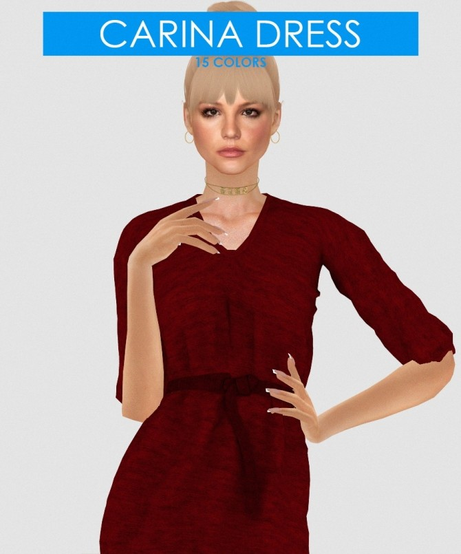 CARINA DRESS by Thiago Mitchell at REDHEADSIMS image 1184 670x805 Sims 4 Updates