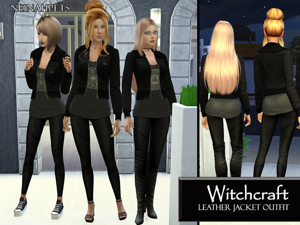 Witchcraft Occult Leather Outfit by neinahpets at TSR image 1190 Sims 4 Updates