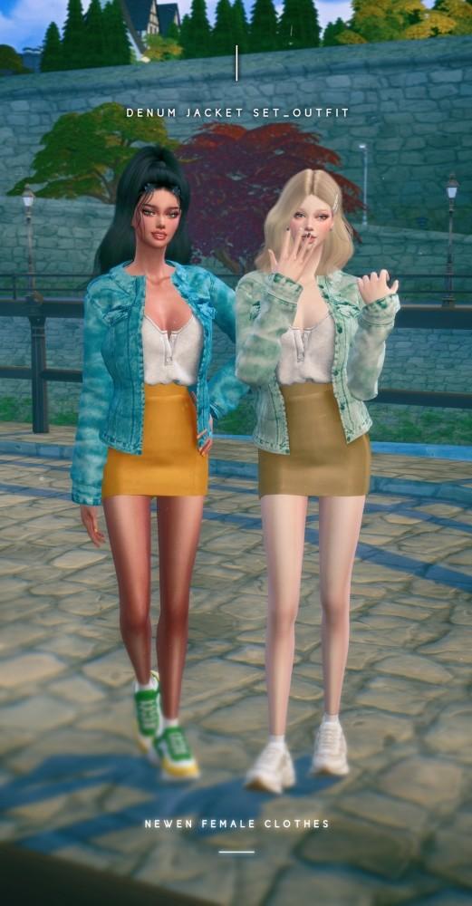 Denim jacket Set Outfit at NEWEN image 1202 521x1000 Sims 4 Updates