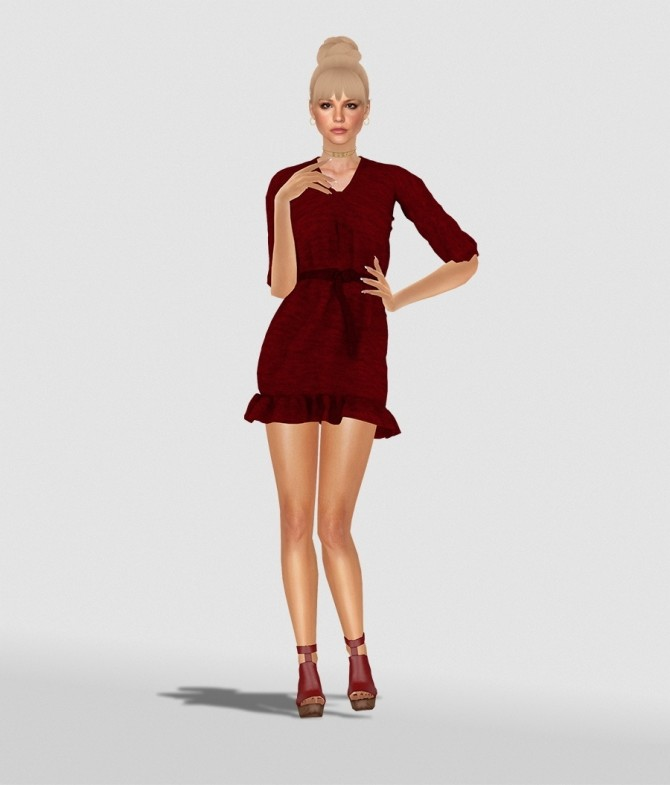 CARINA DRESS by Thiago Mitchell at REDHEADSIMS image 1205 670x785 Sims 4 Updates