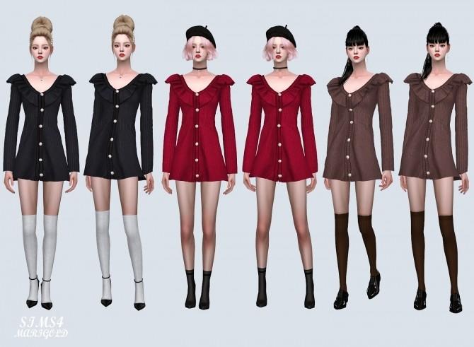 Sims 4 Frill Cardigan Flare Mini Dress (P) at Marigold