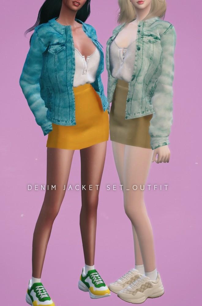 Denim jacket Set Outfit at NEWEN image 1214 660x1000 Sims 4 Updates