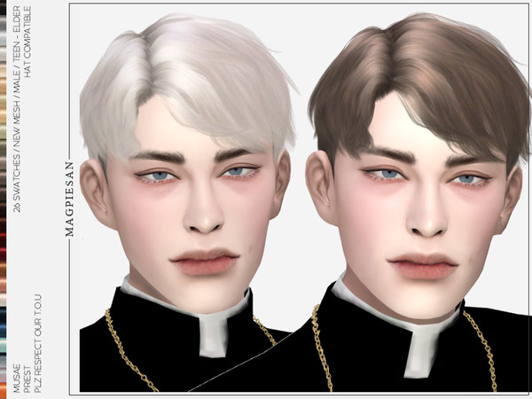 Priest Hair by magpiesan at TSR image 1217 Sims 4 Updates