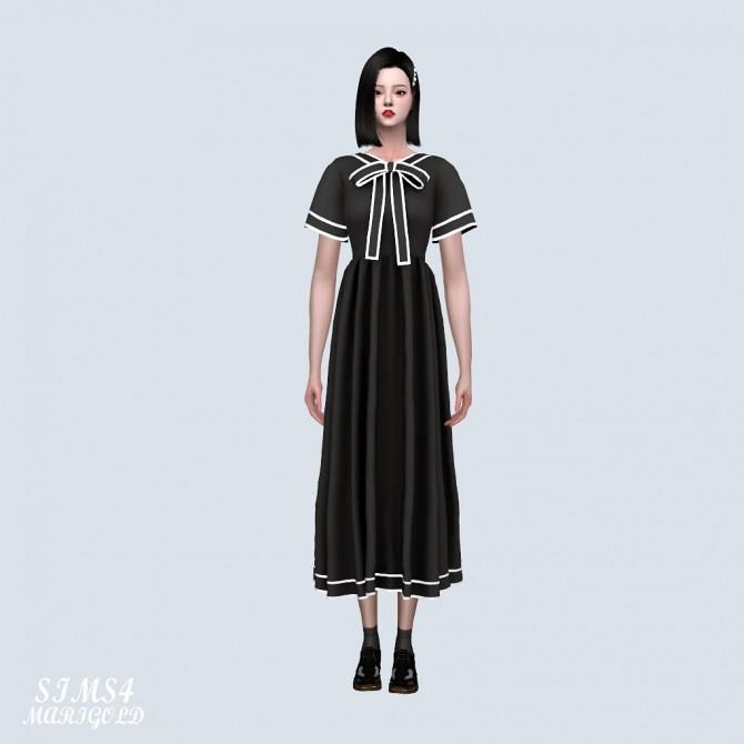 Sims 4 Line Ribbon Flare Long Dress (P) at Marigold