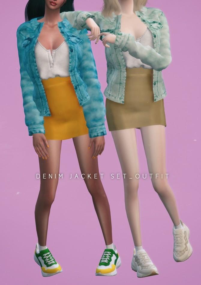Denim jacket Set Outfit at NEWEN image 1222 670x951 Sims 4 Updates
