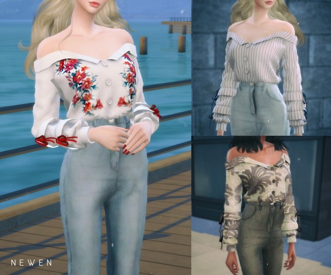 Sims 4 Off shoulder Shirts & ZIP IT Jeans at NEWEN