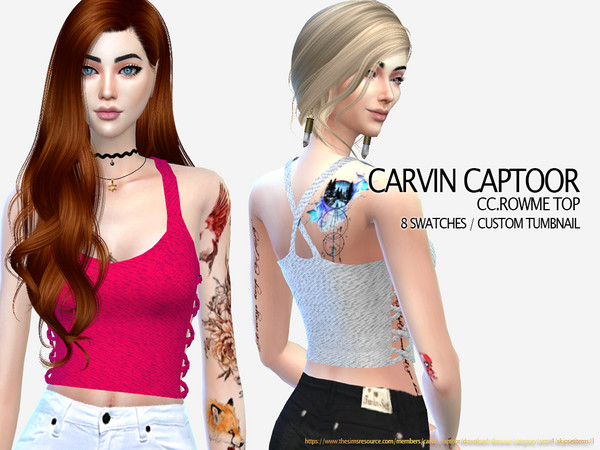 Sims 4 Rowme Top by carvin captoor at TSR