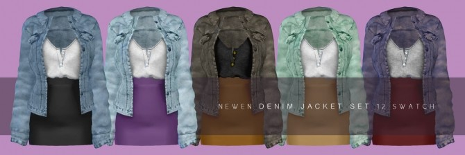 Denim jacket Set Outfit at NEWEN image 1242 670x224 Sims 4 Updates