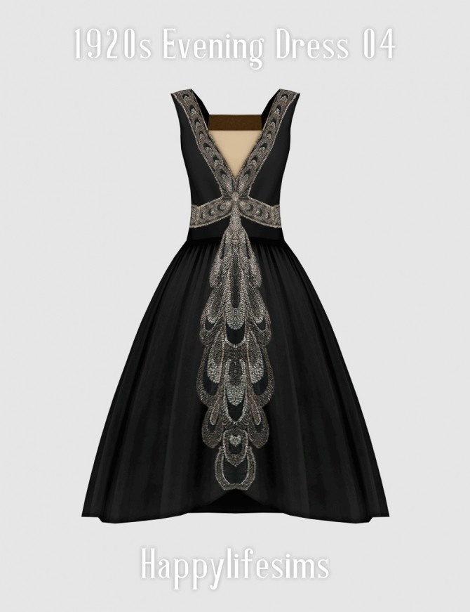 Sims 4 1920s Evening Dress 04 at Happy Life Sims