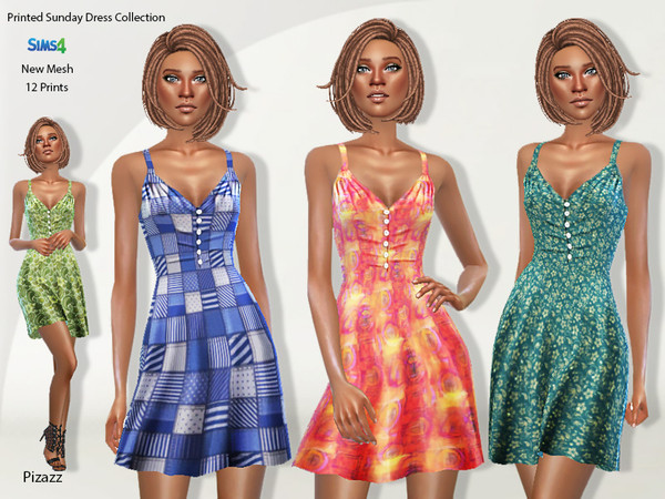Sims 4 Printed Sundress Collection by pizazz at TSR