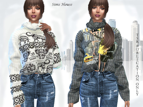 Sims 4 Womens knitted sweater with a collar and print by Sims House at TSR