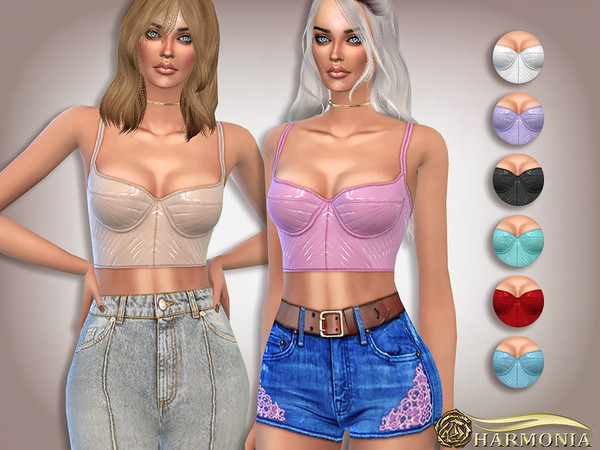 Sims 4 Featuring PU Strappy Crop Top by Harmonia at TSR