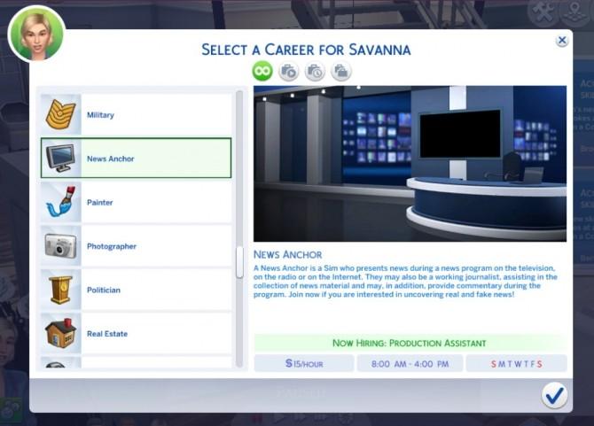 Sims 4 News Anchor Career at Kiara's Sims 4 Blog