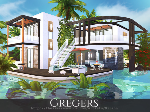 Sims 4 Gregers contemporary house by Rirann at TSR