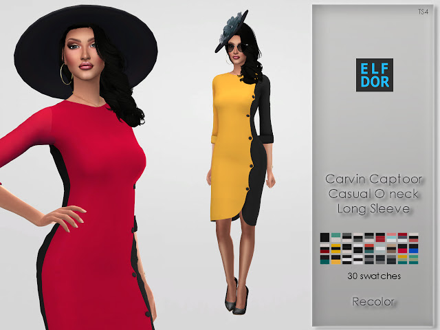 Sims 4 Carvin Captoor Casual Oneck Long Sleeve RC at Elfdor Sims
