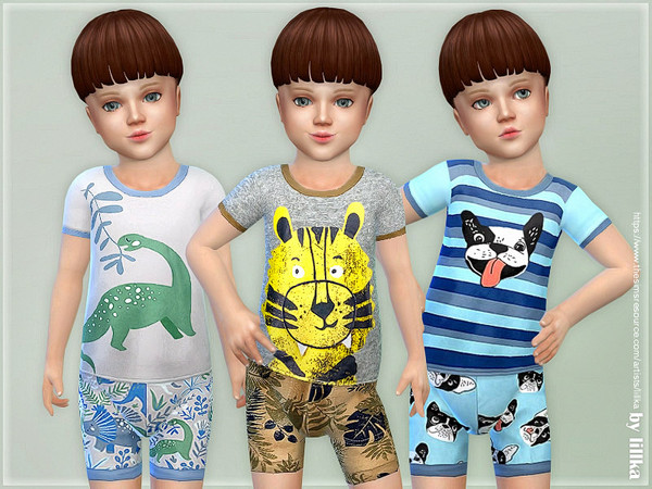 Summer Pajama for Toddler Boys by lillka at TSR image 1413 Sims 4 Updates